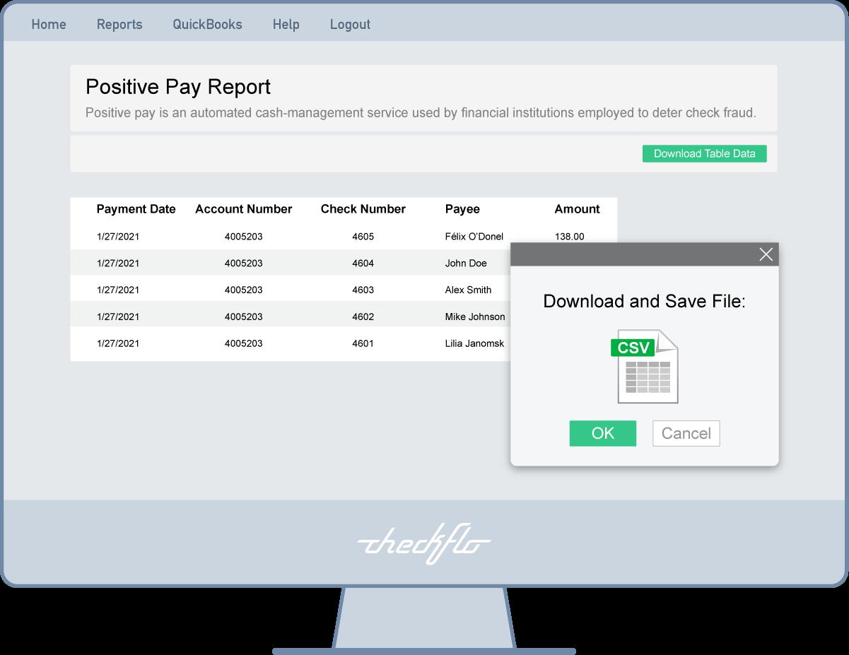 Positive Pay Report on Checkflo