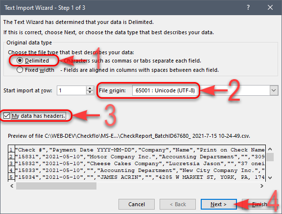 MS Excel - CSV Import Wizard - Step 1 of 3