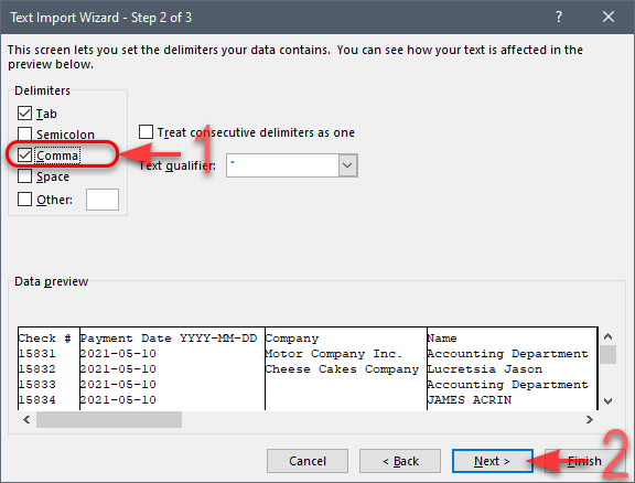 MS Excel - CSV Import Wizard - Step 2 of 3