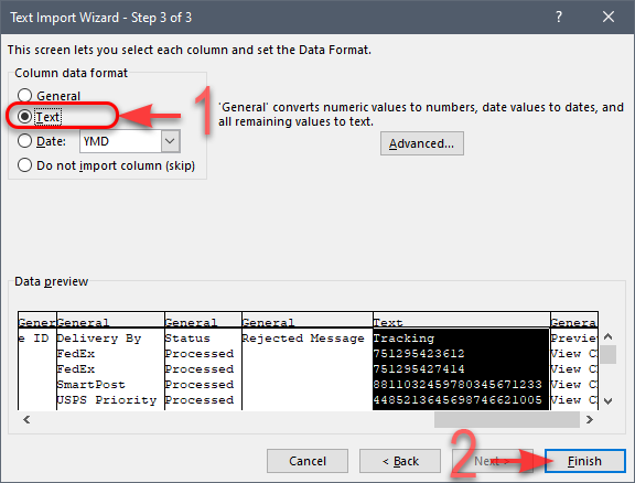 MS Excel - CSV Import Wizard - Step 3 of 3