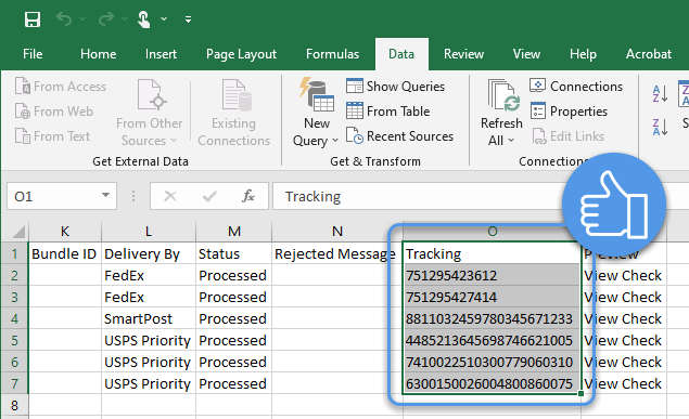 Import CSV data - Tracking numbers